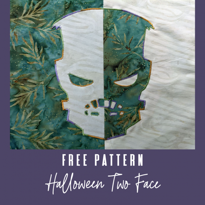 Monsters Two Face Quick and Easy Applique Table Runner or Wall Quilt Block Tutorial with Free Frankenstein Pattern